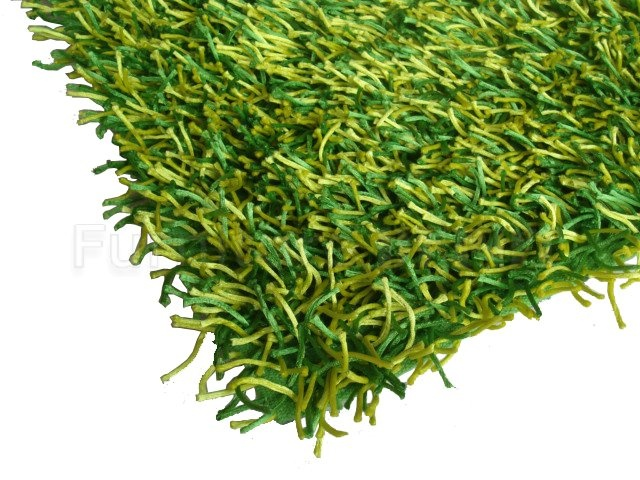 Modern Green Shaggy Rug Resembles Grass Turf Masculine