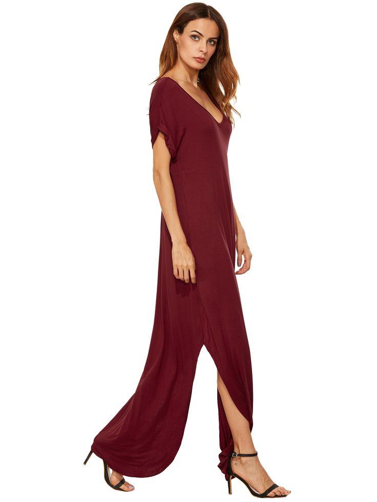 Красный Прокат манжеты Карманы Сплит платье макси