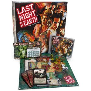 In the Zombie Board Game: Last Night on Earth, you'll take on the role of a small town Hero or become part of the zombie hoard and play against your friends to find out who will live and who will die.  HOLY CRAP ZOMBIES!    Will you know where to find weapons? Can you build a sturdy barricade? What do you do when the power goes out? If you get turned, can you effectively trap the survivors? Do you know which brains are the tastiest?