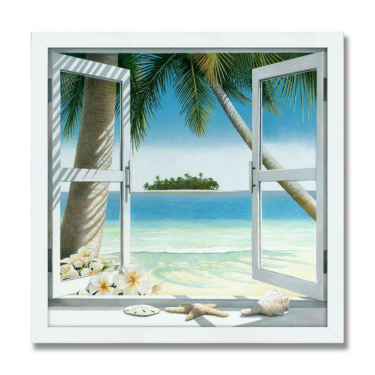 Island Getaway 24 x 24 Framed Canvas Art, Multicolor