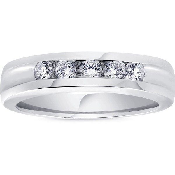1/2ct Diamond Mens Wedding Ring Channel Set High Polished Band 14k... ($510) ❤ liked on Polyvore featuring men's fashion, men's jewelry, men's rings, white, mens white gold rings, mens rings, mens 14k gold rings, mens diamond rings and mens white gold diamond ring