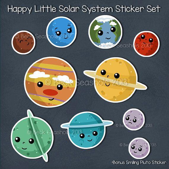 Happy Solar System Cartoon Hand Cut Sticker Set by ...