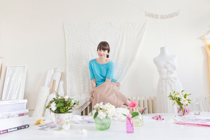 Wedding dress designer Kelsey Genna aims to minimise her impact on the environment by adopting a waste-free policy in regards to her fabrics, all of the embellishments on her dresses (silk roses, lace flowers) are also crafted out of scraps.