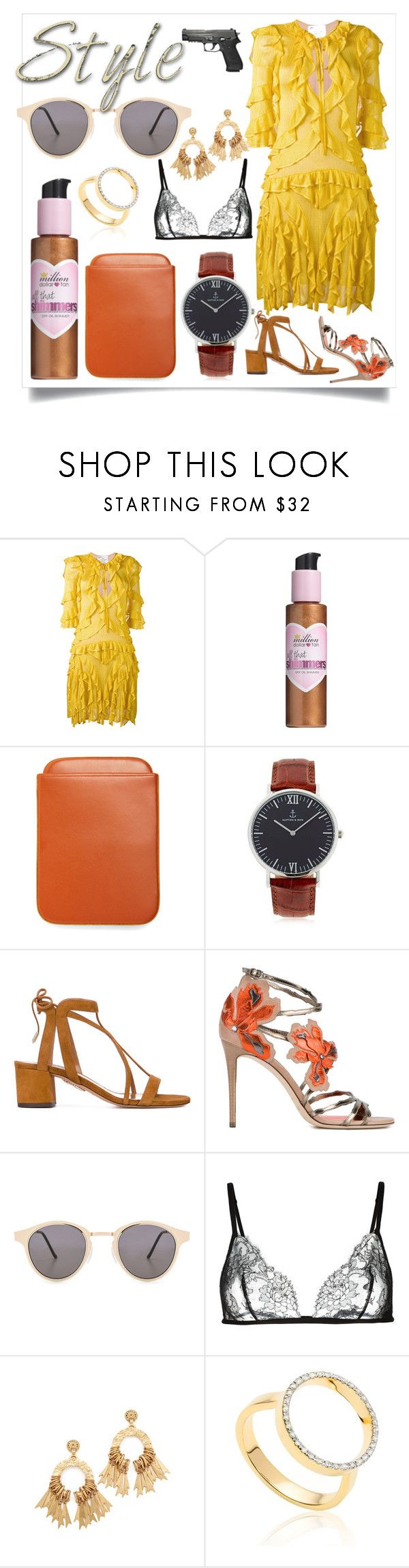 """SUMMER STYLE"" by justinallison ❤ liked on Polyvore featuring Dsquared2, Million Dollar Tan, Brooks Brothers, Kapten & Son, Aquazzura, Jimmy Choo, Spitfire, Carine Gilson, Elizabeth Cole and Monica Vinader"