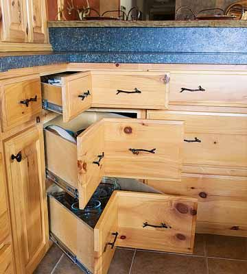 Angled corner drawers make the most of space, and means no longer rummages blindly for objects way in the back.