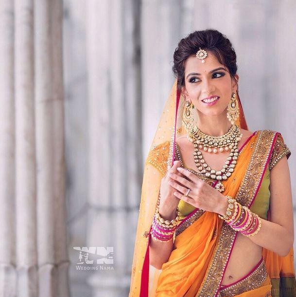 Celebrity Designer Neeta Lulla's Daughter Nishka Lulla's bridal look.  Love her lehenga and jewellery. Indian bridal fashion.