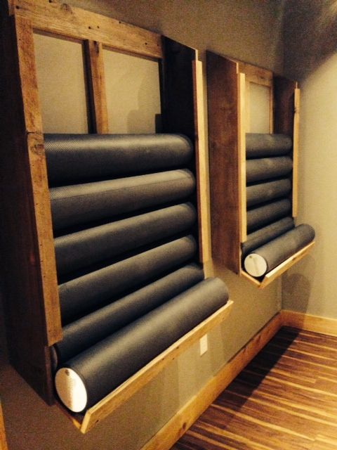 New foam roller holders for our studio made from old barn wood taken from The Hummert Farm, St. Libory, IL.  We love them!