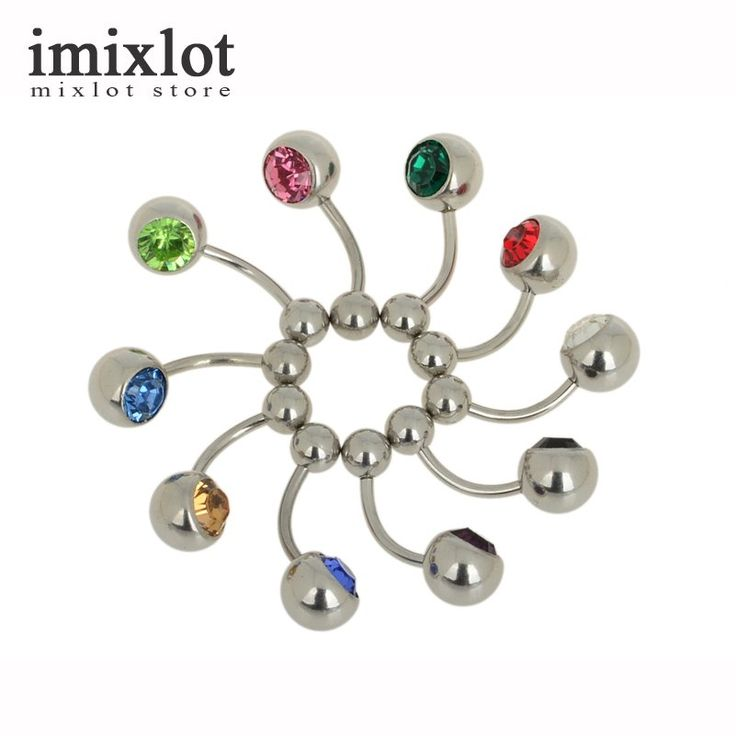 1 Piece Body Piercing Jewelry Silver Plated Bar Ball Barbell Belly Navel Button Ring Navel Piercing