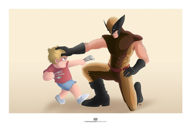 "MARVELOUS MEN | Dylan + Logan (From the Series ""Dylan and Friends"") - Marvel Wolverine Little Boy Character Design Superhero Humour Personal Children's Illustration Commission"