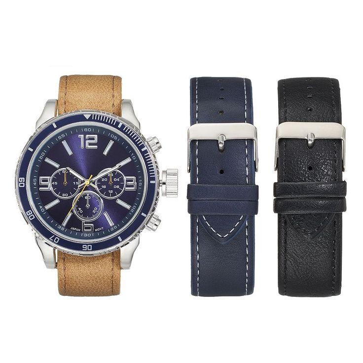 Men's Watch & Interchangeable Band Set, Size: XL, multicolor