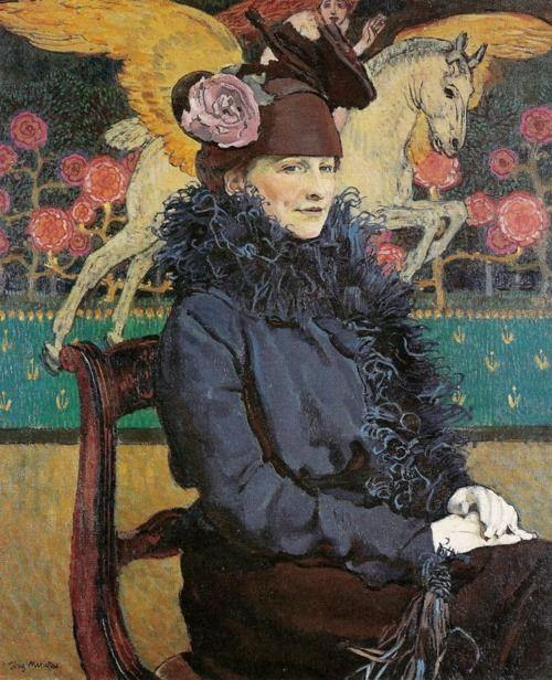 darksilenceinsuburbia:    Józef Mehoffer. Portrait avec Pégase, 1913.: