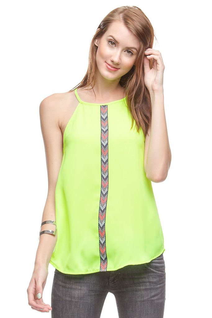 SLEEVELESS TOP WITH FRONT TRIM TAPE DETAIL
