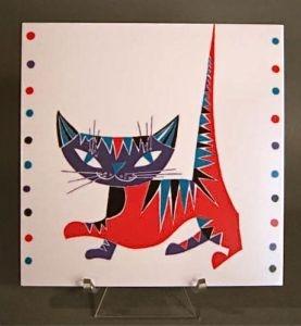 Stig Lindberg. 'Balo' Ornamin Cat Trivet.