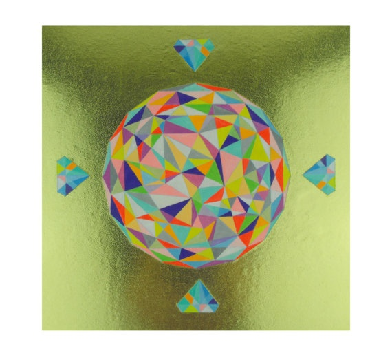 Geometric Painting Panel mixed media Crystal by SketchInc on Etsy, £60.00