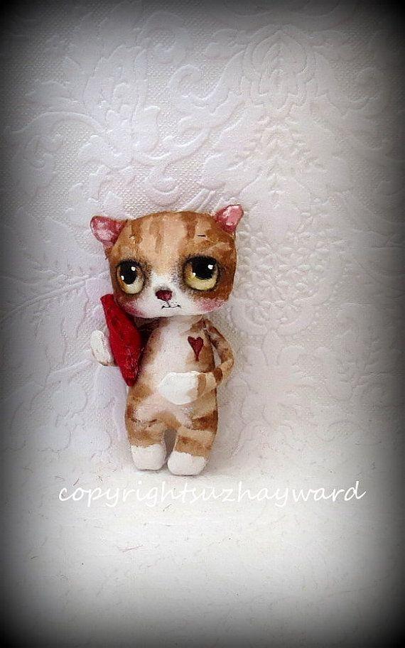 Tiny kitten cloth doll with Valentine heart by suziehayward, $59.00