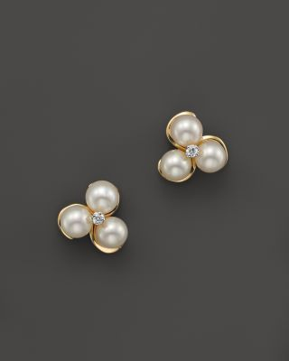 Cultured Freshwater Pearl and Diamond Earrings in 14K Yellow Gold, 5mm | bloomingdales.com