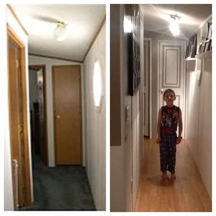 Our new hallway. Gray color is Smoked Oyster by Valpar. Single wide mobile manufactured home makeover remodel.