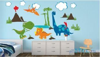 Красивая наклейка на стену Парк Юрского периода в интерьере детской комнаты