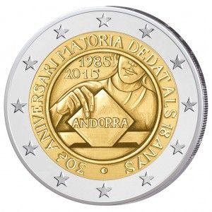 """Andorra 2 Euro-Entwurf """"30. Jahrestag der Volljährigkeit ab 18 Jahren"""""""