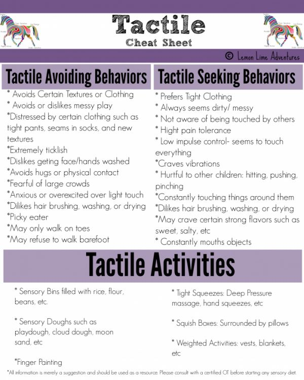 Sensory Processing Explained: Tactile cheat sheet - Touch, including skin sensitivity