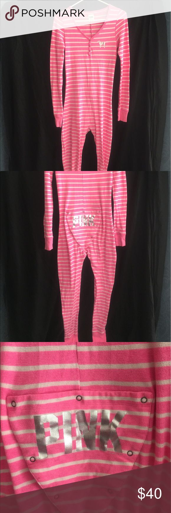 PINK by Victoria's Secret long underwear/pajamas Size Medium. One piece long johns, open/close back with silver PINK logo. So cute! And comfy! PINK Victoria's Secret Intimates & Sleepwear Pajamas
