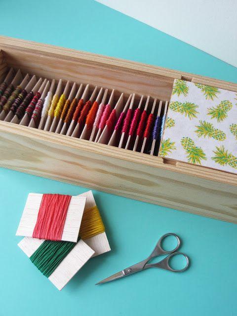 Astuce pour ranger ses fils de broderie dans une boîte en bois / How to organize your embroidery threads in a wood box