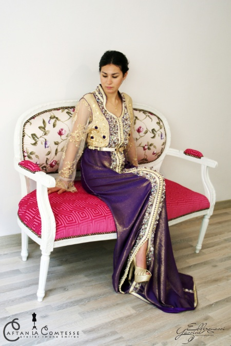 very chic two piece caftan with train