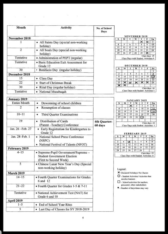 deped school calendar for school year 2018 2019 deped tambayan ph