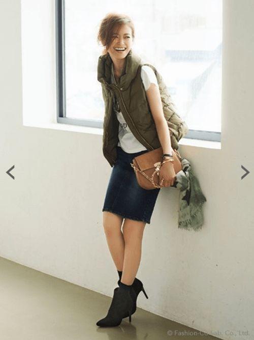 ペンシルデニムタイトスカート♪フェミカジ系タイプのコーデ♡参考にしたいスタイル・ファッション