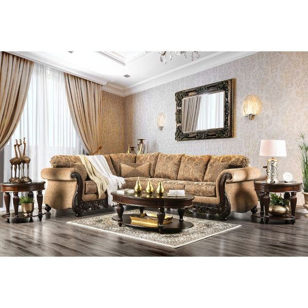 2 pc Cassandra collection tan floral patterned fabric intricate wood... ($1,370) via Polyvore featuring home, furniture, sofas, floral sofa set, upholstery sofa, tan couch, tan sectional and fabric sectional