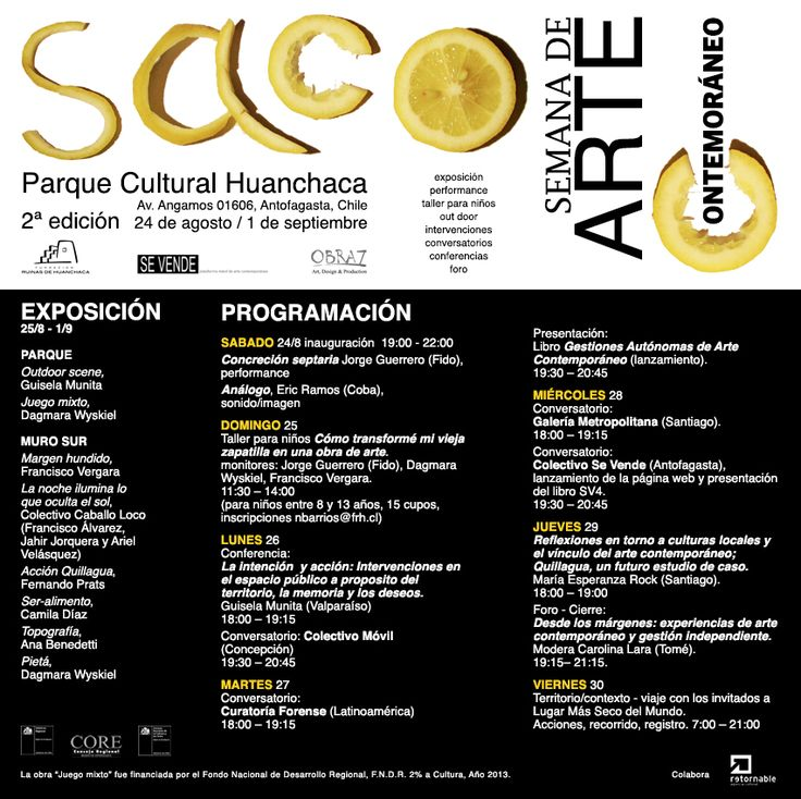 2da Semana de Arte Contemporáneo en Antofagasta (Chile). 24 de Agosto al 1 de Septiembre 2013