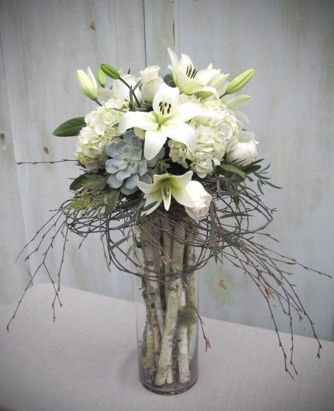 Blush pink and ivory tall centerpieces with roses, lilies, hydrangea  and succulents.with birch branches - Chickabloom Floral Studio Vancouver, WA