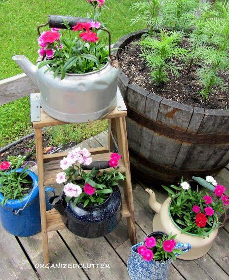 Junk Garden Ladders www.organizedclutterqueen.blogspot.com