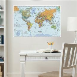 Adhésif murale - Carte du monde effaçable à sec | DeSerres