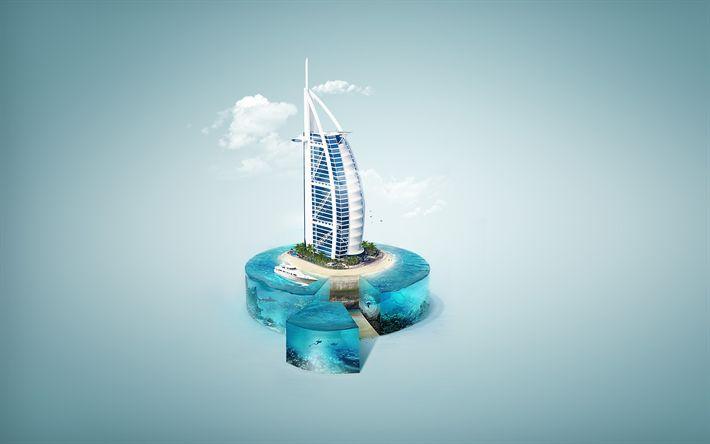 Download wallpapers Burj Al Arab, 4k, 3d art, Dubai, UAE, travel concepts