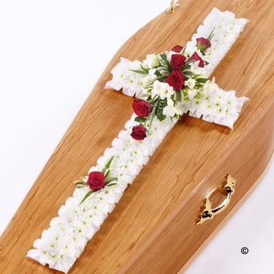 """Classic Cross White and Red * 