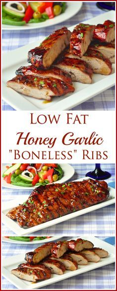Low Fat Honey Garlic Boneless Ribs - quick and easy too! Pork tenderloin has as little fat as boneless skinless chicken breast! This recipe is a smart, easy way to bring the flavour and nutrition of lean pork to your dinner table in the form of these tempting pork rib look-alikes!