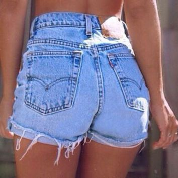 90's Vintage LEVI'S High-Waisted Destroyed Light Denim Jean Shorts, Cut-Off Size 5/6 Waist 27 IN $28.95 USD Only 1 available by OwnIdentity