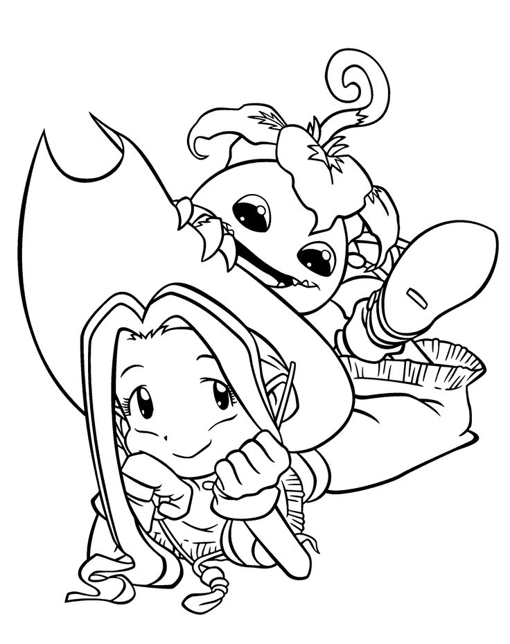 Mimi and Palmon Digimon anime coloring pages for kids