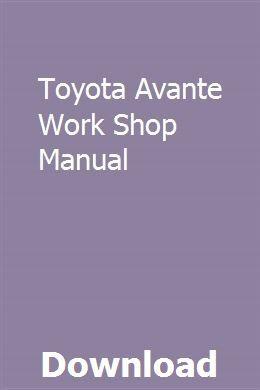 Toyota Avante Work Shop Manual Manual Car Teacher Guides Repair Manuals