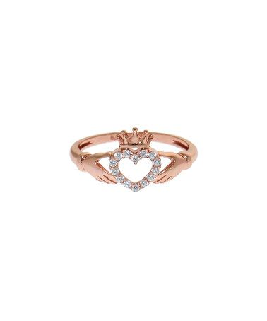 Another great find on #zulily! Cubic Zirconia & Rose Gold Claddagh Ring #zulilyfinds