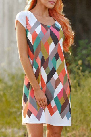 Chic Scoop Collar Short Sleeve Geometric Print Women's Dress