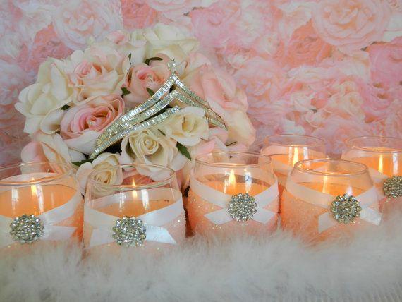 Weddings, Wedding Candles, Candle Holder, Votives, Votive Holder, Pink, SET OF 6, Tea Light Holder, Wedding Decoration, Ceremony Candles via Etsy