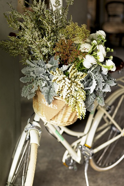 Rustic White and Green monogrammed bike and floral arrangement in basket for country weddings, rustic parties and events