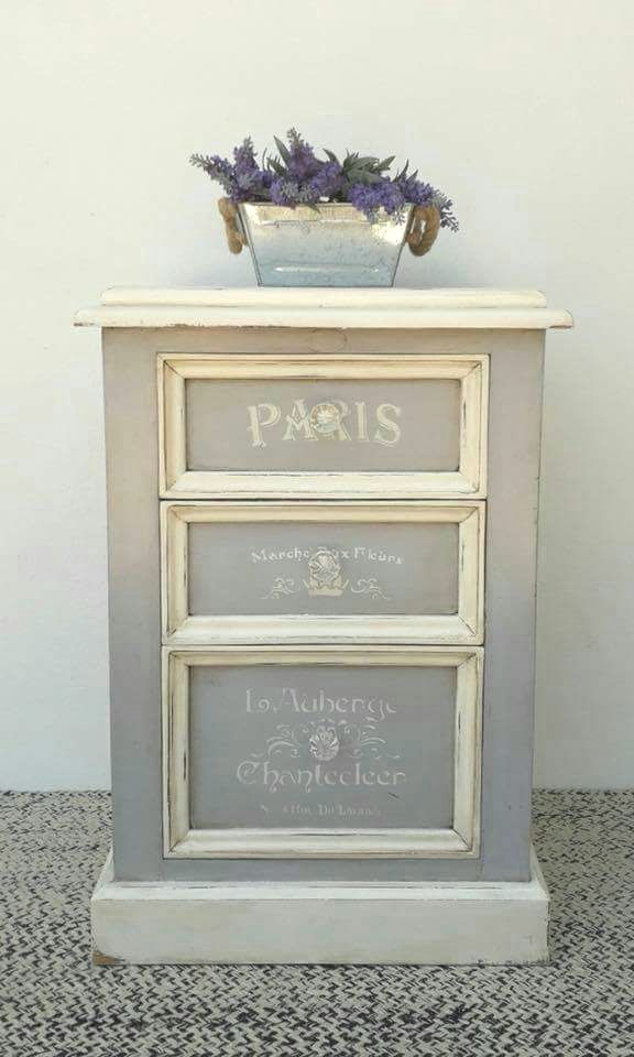 Annie Sloan Paris Grey And Old White Chalk Paint Drawers. Finished With  Dark Wax