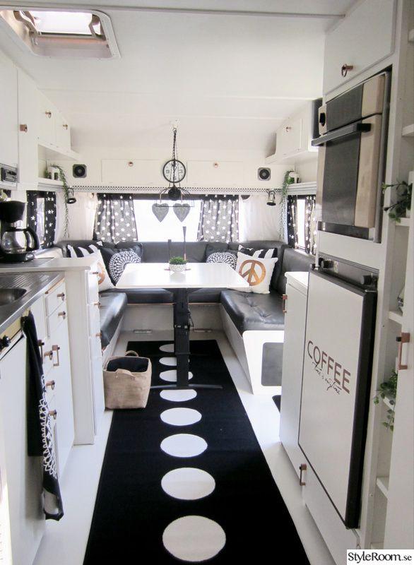 copper, white, black, patterned wallpaper, caravan Improvement