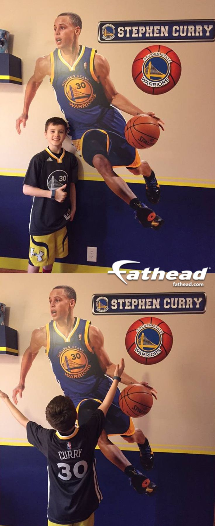 NBA | Basketball Teams + Players | If you're looking for the right Golden State Warriors gift, Fathead has the perfect wall art present that is better than any old poster or sticker. SHOP http://www.fathead.com/nba/golden-state-warriors/stephen-curry/?cm_mmc=social-_-pinterest-_-goldenstate-_-stephcurryfan | DIY Bedroom Decor for Boys + Girls | Custom Decals | Peel & Stick | Man Cave | Home Decor