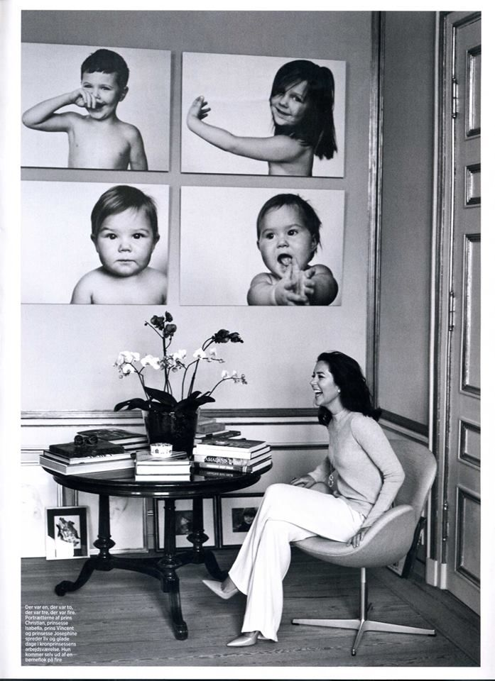royalwatcher: Crown Princess Mary of Denmark has pictures of her four kids on the wall of her supposed studio (source).
