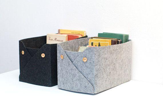 Set of 2 Felt Baskets / Storage Basket with Buttons / Household Storage / Felt…