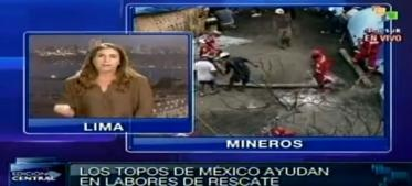 El ministro de Energía y Minas de Perú, Jorge Merino, informó que especialistas construyen un túnel encofrado de madera para rescatar a los nueve obreros atrapados desde el pasado jueves en el yacimiento artesanal Cabeza de Negro, en Ica.